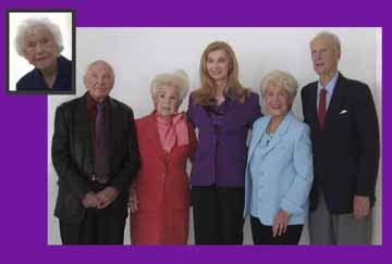 Lynn Peters Adler with centenarians Rosie Ross, Lillian Cox, Elsa Hoffmann, Karl Hartzell and Dorothy Young